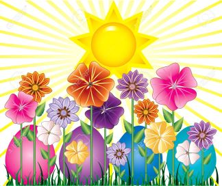 9274980-Vector-illstration-of-a-Spring-Day-with-Sunshine-and-Easter-Egg-Garden-with-grass--Stock-Vector