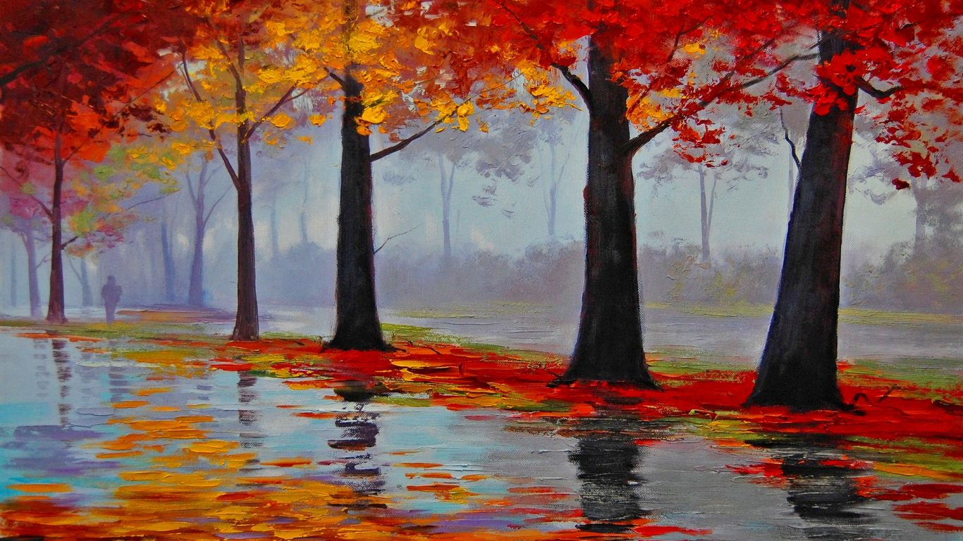 Walk Trees Artistic Autumn Painting Photo